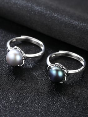 Sterling Silver 9-9.5mm natural  pearls free size ring