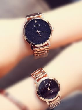 GUOU Brand Fashion Numberless Lovers Watch