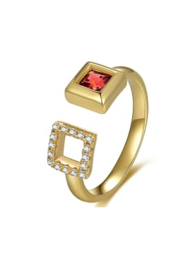 Double Hollow Square Garnet Zircons Opening Ring