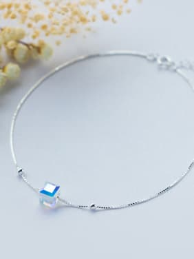 925 Sterling Silver With Platinum Plated Fashion Square Anklets