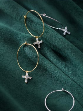 925 Sterling Silver With Silver Plated Personality Cross Hoop Earrings
