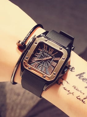 GUOU Brand Roman Numerals Square Lovers Watch