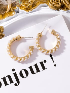 925 Sterling Silver With Gold Plated Fashion Charm  Imitation Pearl Stud Earrings