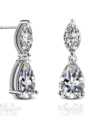 Shining AAA Zircons Simple Style Noble Drop Earrings