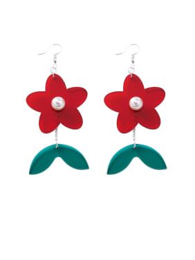 Alloy With Platinum Plated Cute Flower Hook Earrings