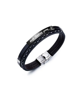 Titanium With PU Leather Simplistic Geometric  Men's  Bracelets