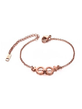 All-match Geometric Shaped Rose Gold Plated Titanium Bracelet