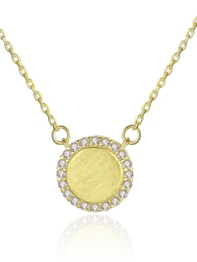 925 Sterling Silver With Cubic Zirconia Simplistic Round Necklaces
