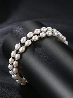 Pure Silver Freshwater Pearl double Bracelet