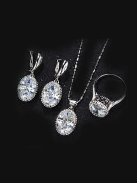 High Quality Oval Zircon Two Pieces Jewelry Set
