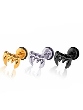 Stainless Steel With Gold Plated Personality wolf's fang Stud Earrings
