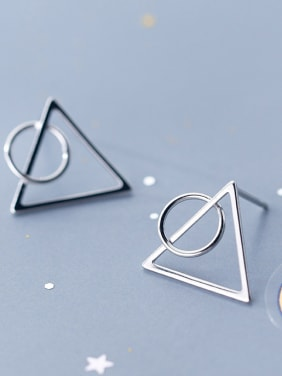 925 Sterling Silver With Silver Plated Simplistic Triangle Round Stud Earrings
