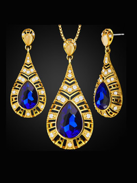 Water Drop Artificial Crystals Two Pieces Jewelry Set