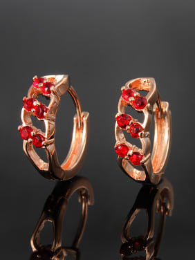Creative Rose Gold Plated Red Zircon Clip Earrings