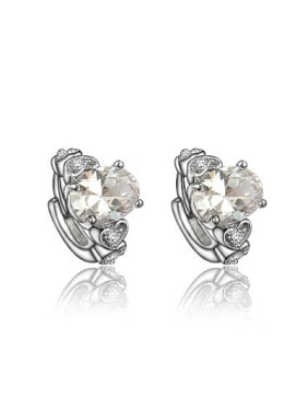 Shining Platinum Plated White Zircon Clip Earrings