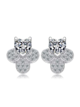 Platinum Plated Zircons Owl Stud Earrings