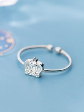 925 Sterling Silver With Platinum Plated Simplistic Crown Free Size  Rings