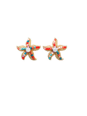 Alloy With  Artificial Pearl  Bohemia Colorful Sea Star Round Stud Earrings