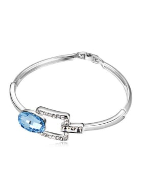 Simple Oval Swarovski Crystal Alloy Bracelet