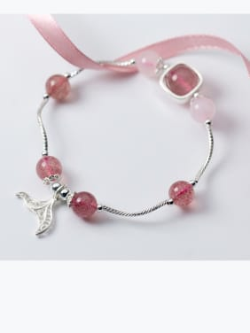 925 Sterling Silver With Silver Plated  and strawberry crystals Add-a-bead Bracelets