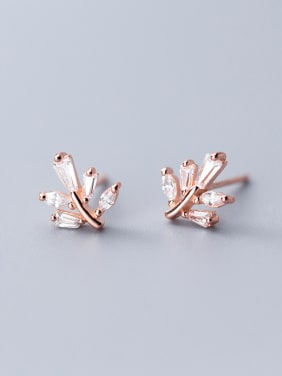 925 Sterling Silver With Cubic Zirconia Simplistic Leaf Stud Earrings