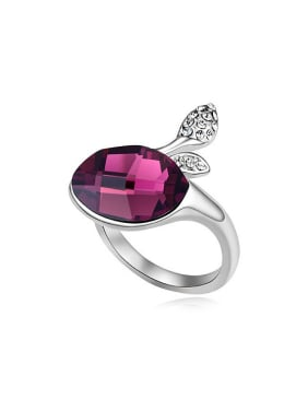 Simple Oval Swarovski Crystal-accented Alloy Ring