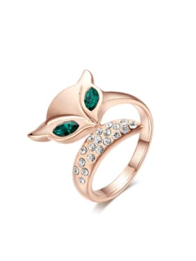 Little Lovely Fox Shaped Opening Ring with Zircons