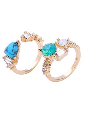 Fresh Blue Stones Women Simple Style Opening Ring