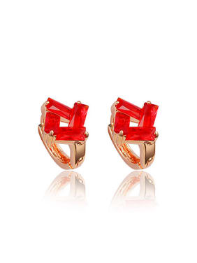 Red Square Shaped 18K Rose Gold Plated Clip Earrings