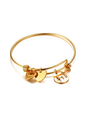 Exquisite Heart Shaped Gold Plated Titanium Bangle