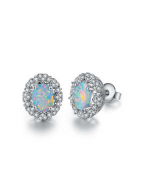 White-Opal Platinum-plated ear stud earrings 6MM