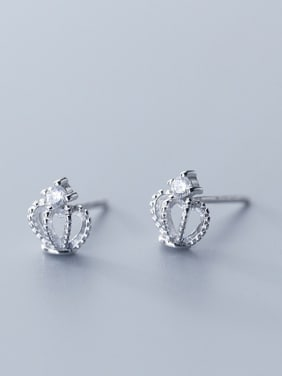 925 Sterling Silver With Silver Plated Personality Crown Stud Earrings