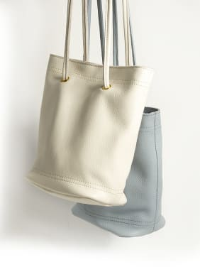 First layer cowhide bucket bag