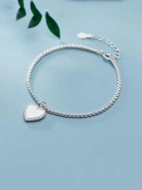 925 Sterling Silver With Platinum Plated Simplistic Smooth Heart Bracelets