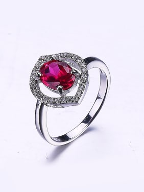 Women Fuchsia Flower Zircon Ring