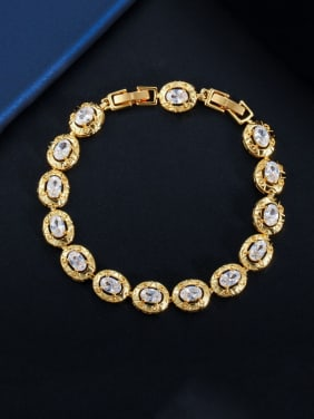 Copper With Gold Plated Delicate Oval Cubic Zirconia  Bracelets