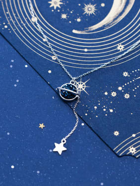 925 Sterling Silver With Platinum Plated Fashion Star Necklaces