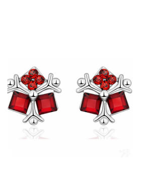 Personalized Little Red Swarovski Crystals 925 Silver Stud Earrings