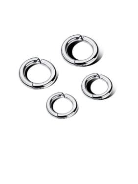 Stainless Steel With Gun Plated Simplistic Round Clip On Earrings