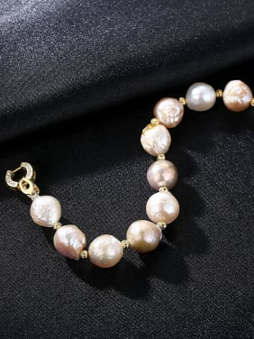 Pure silver plating 18K-gold Baroque natural pearl bracelet