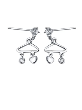925 Sterling Silver With Glossy Fashion Triangle Drop Earrings