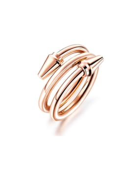 Titanium With Rose Gold Plated Simplistic Fashion multi-circle  Band Rings