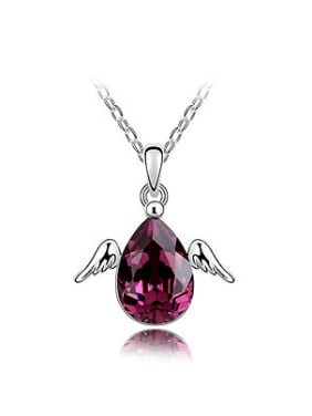 Simple Water Drop Swarovski Crystal Little Angel Wings Alloy Necklace