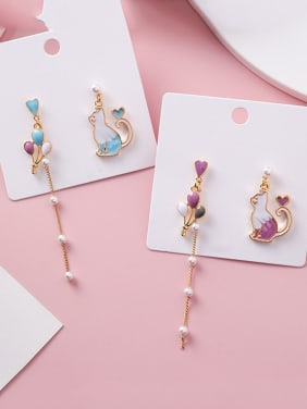 Alloy With Rose Gold Plated Cartoon Colour Balloon Tasseled Cat Threader Earrings