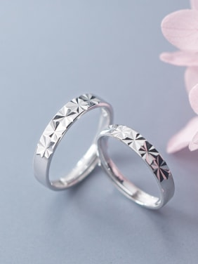 925 Sterling Silver With Silver Plated Simplistic Snow Pattern Free Size Rings