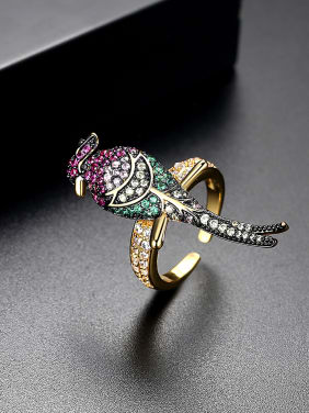 AAA zircon colored bird free size rings