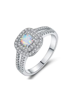Square AAA Zircons Opal Alloy Women Ring