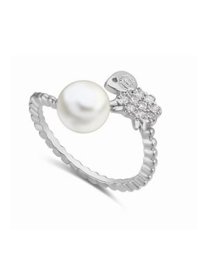Personalized Little AAA Zirconias-studded Sheep Imitation Pearl Alloy Ring