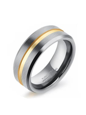 Tungsten With Gold Plated Simplistic Geometric Rings