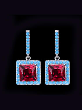 Shinning Square Noble Women Colorful Drop Earrings